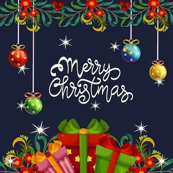 Cartão de feliz natal com decoração de bola e caixa de presente