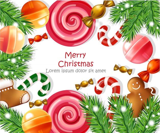 Cartão de feliz natal com decoração de doces
