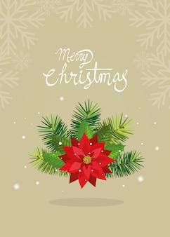 Cartão de feliz natal com decoração de flores