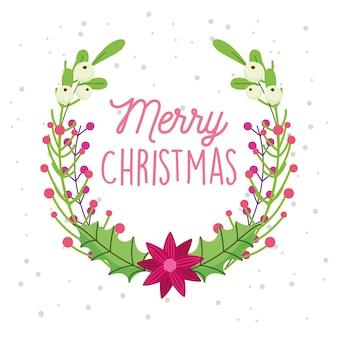 Cartão de feliz natal com decoração de folhas de flores e bagas