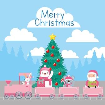 Cartão de feliz natal com desenhos animados de animais celebrando o natal