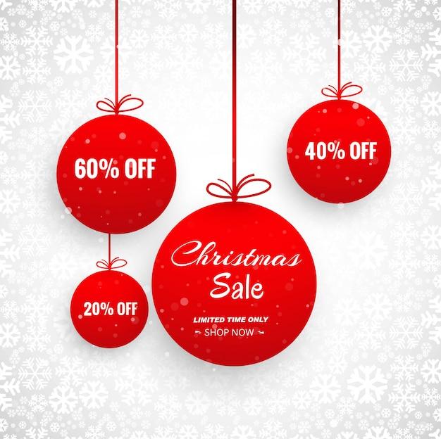 Cartão de feliz natal com design de venda de bola decorativa
