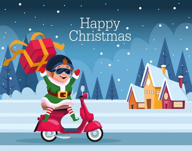 Cartão de feliz natal com elfo no projeto de ilustração vetorial moto