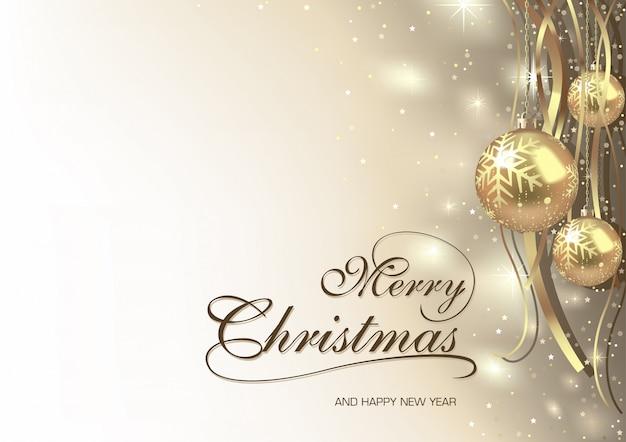 Cartão de feliz natal com enfeites de ouro