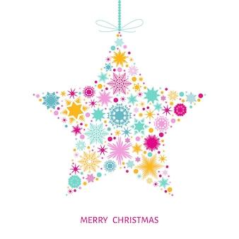 Cartão de feliz natal com estrelas coloridas com flocos de neve. ilustração vetorial com decoração de árvore de natal.