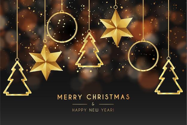 Cartão de feliz natal com estrelas douradas e pinheiros