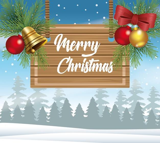Cartão de feliz natal com etiqueta de madeira no projeto de ilustração vetorial snowscape