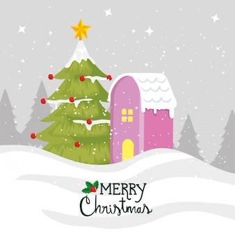 Cartão de feliz natal com fachada de pinheiro e casa