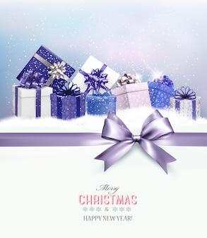 Cartão de feliz natal com fita e caixas de presente