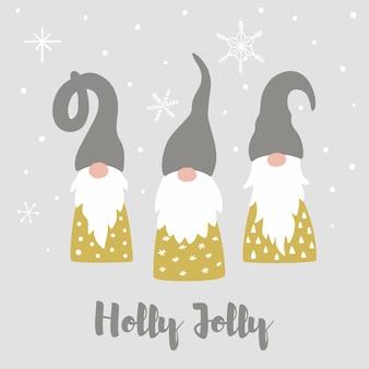 Cartão de feliz natal com flocos de neve de gnomos escandinavos fofos e texto holly jolly