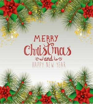 Cartão de feliz natal com flores e decoração de grinalda