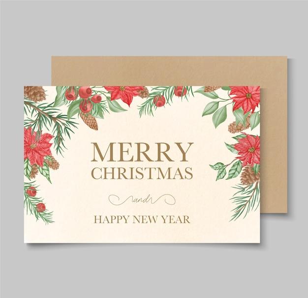 Cartão de feliz natal com flores e folhas