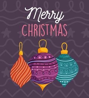Cartão de feliz natal com fundo escuro de bolas decorativas