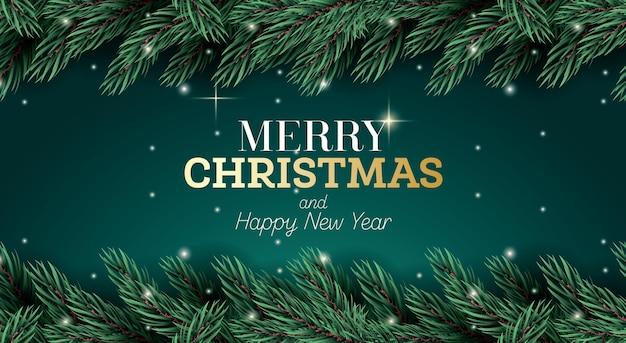 Cartão de feliz natal com galho de abeto e luzes de néon