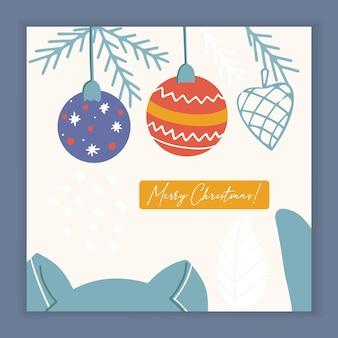 Cartão de feliz natal com gatinho e elementos e símbolos de férias