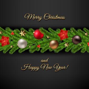 Cartão de feliz natal com guirlanda de natal