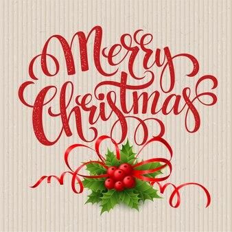 Cartão de feliz natal com holly