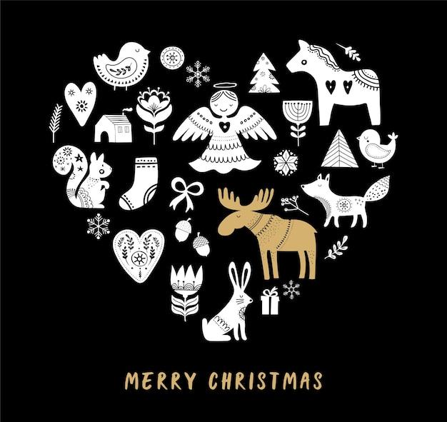 Cartão de feliz natal com ilustrações de estilo escandinavo e nórdico desenhadas à mão.