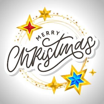 Cartão de feliz natal com letras de mão desenhada e estrelas em fundo escuro. fundo com moldura dourada de férias fofo