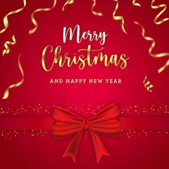 Cartão de feliz natal com lindo laço e confete dourado
