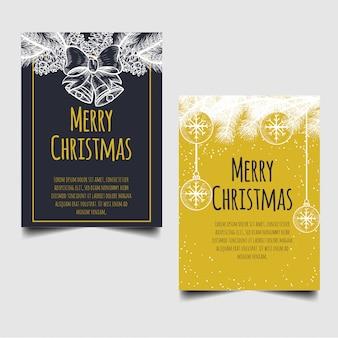 Cartão de feliz natal com mão desenhada pinho natal