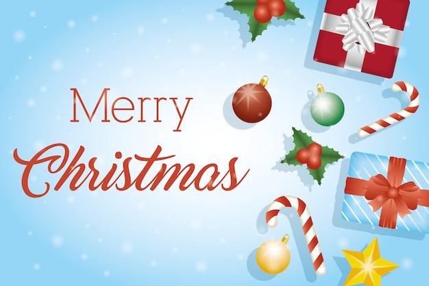 Cartão de feliz natal com moldura de conjunto de itens