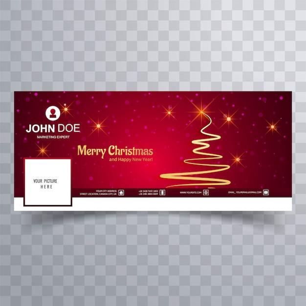 Cartão de feliz natal com o modelo de banner de capa do facebook