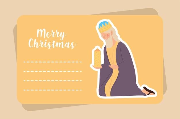 Cartão de feliz natal com o rei sábio melchior e ilustração de presente