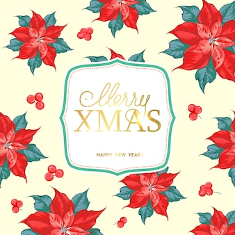 Cartão de feliz natal com padrão de flor de poinsétia