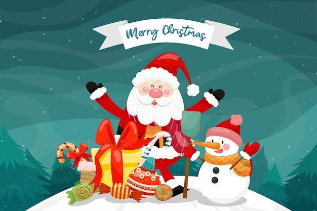 Cartão de feliz natal com papai noel, boneco de neve e caixa de presente.