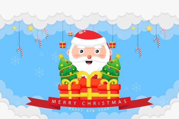 Cartão de feliz natal com papai noel e caixa de presente