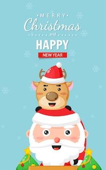 Cartão de feliz natal com papai noel e veados