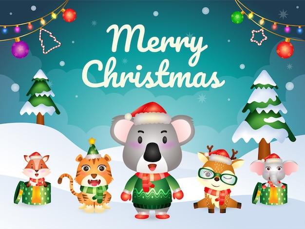 Cartão de feliz natal com personagens de animais fofos: coala, veado, elefante, tigre e raposa