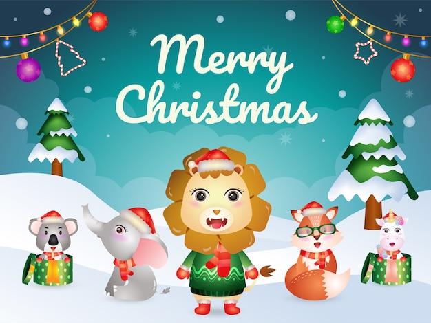 Cartão de feliz natal com personagens de animais fofos: leão, raposa, elefante, coala e unicórnio