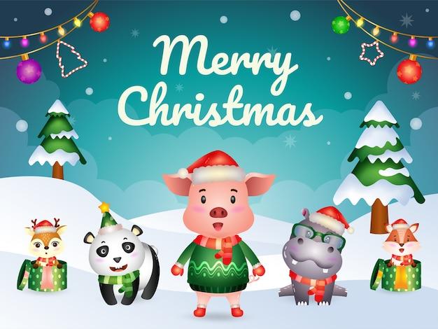 Cartão de feliz natal com personagens de animais fofos: porco, hipopótamo, panda, raposa e veado