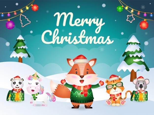 Cartão de feliz natal com personagens de animais fofos: raposa, tigre, unicórnio, coala e panda
