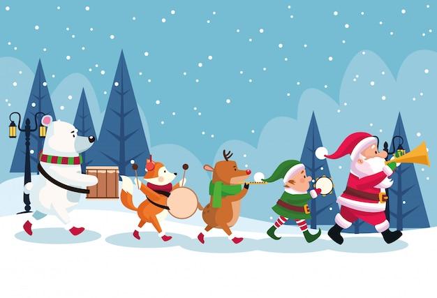 Cartão de feliz natal com personagens tocando instrumentos vector design ilustração