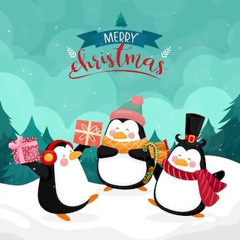 Cartão de feliz natal com pinguim com montanha e pinheiros