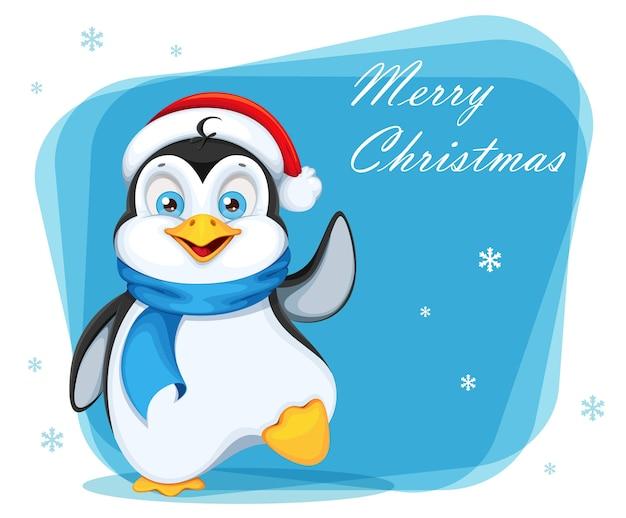 Cartão de feliz natal com pinguim fofo