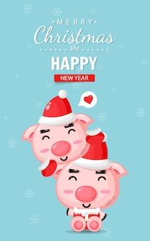 Cartão de feliz natal com porco fofo usando fantasia de natal