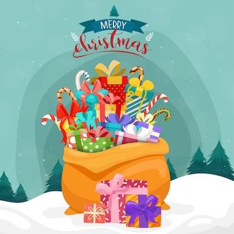 Cartão de feliz natal com presentes em um grande saco na neve e pinheiros