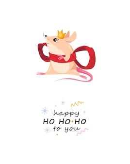 Cartão de feliz natal com princesa rato em um grande laço vermelho personagem de rato vestida com fantasia gif