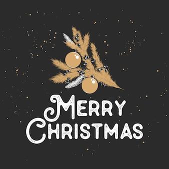 Cartão de feliz natal com ramo de desenho dourado