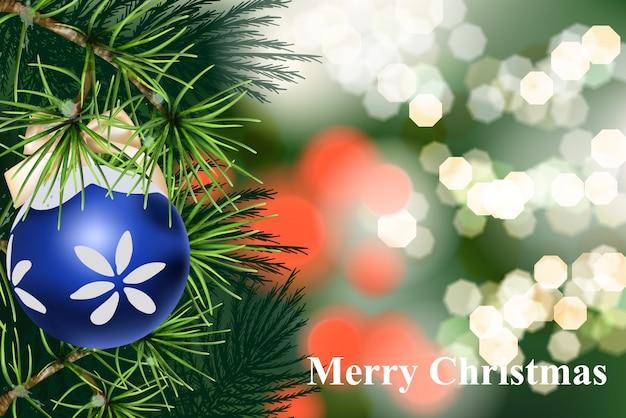 Cartão de feliz natal com ramo de pinheiro e bola