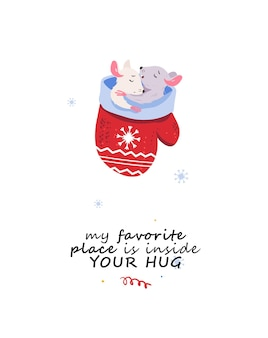 Cartão de feliz natal com ratos adormecidos emparelhar personagem de rato com letras de natal de férias