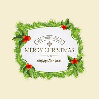 Cartão de feliz natal com saudação no meio de uma coroa de coníferas com folhas de visco