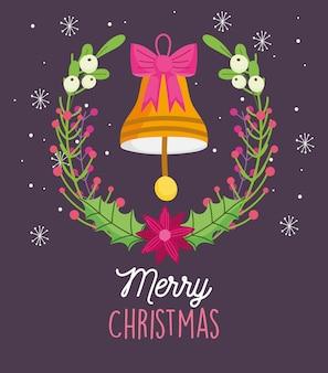 Cartão de feliz natal com sino e arco e coroa de flores com neve