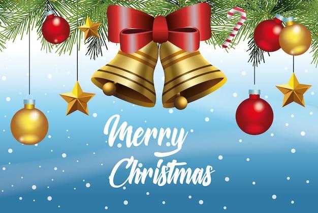 Cartão de feliz natal com sinos e bolas penduradas design ilustração vetorial