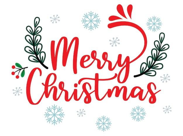 Cartão de feliz natal com texto desenhado à mão