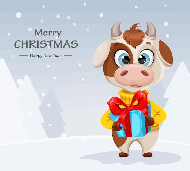 Cartão de feliz natal com touro engraçado